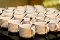 Tea sets, collection white coffee cups, buffet, catering Stock Images