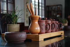 Tea sets and tea ceremony. Teahouse where some of the exquisite tea sets Stock Photo