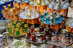 Tea sets and Turkish coffee service sets Stock Image