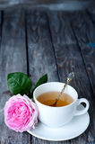 Tea in the Shabby Chic style. Tea and roses in the Shabby Chic style Royalty Free Stock Photos