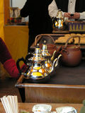 At the tea-shop. Close-up of two teapots in a tea-shop Royalty Free Stock Images