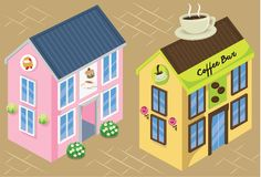 Tea Shop and Coffee Shop at City Square Vector Illustration. For many purpose such as game icon, book illustration, print on canvas, paper, stationery, purse Royalty Free Stock Image