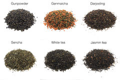 Tea, shot in studio. Teas shot in studio. from left above to right below: gunpowder tea (green tea), genmaicha tea (rice tea, green tea), darjeeling tea (black Stock Photography