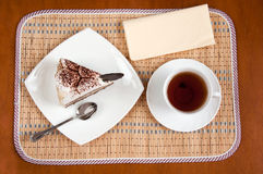 Tea and a slice of cake Royalty Free Stock Photo