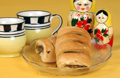 Tea Snack. Tea and snacks on the breakfast table Stock Photo