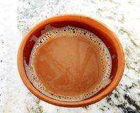 Tea in a soil made cup. Also called as Kullad Chai royalty free stock photos