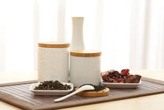 Tea sorts. Different sorts of tea including black, red and green tea Stock Photo
