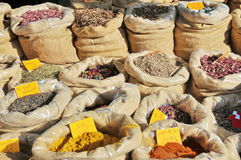 Tea and spices. In a Tunisian market royalty free stock photography