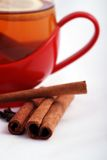 Tea and spices. Cinnamon and cloves in front of a red cup of tea royalty free stock image