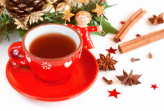 Tea with spices. Christmas hot Tea with spices and holiday decor Royalty Free Stock Image