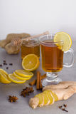 Tea with spices. Tea in cup with spices ginger, lemon, anise, cloves and clothing gloves Stock Photography
