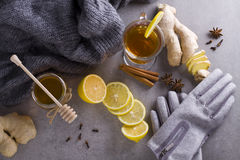 Tea with spices. Tea in cup with spices ginger, lemon, anise, cloves and clothing gloves Stock Image