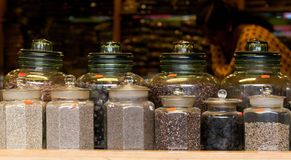 Tea and Spices in an Indian market Stock Photography