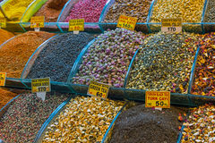 Tea and spices at the Spice market Royalty Free Stock Photo