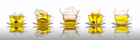 Tea splash collection Royalty Free Stock Image