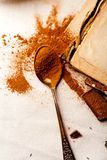 Tea spoon with spilled cocoa powder Royalty Free Stock Photo