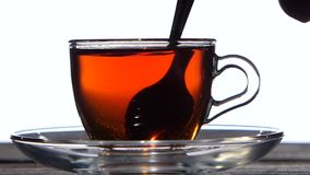 Tea spoon stir the drink in a glass cup. Closeup. Tea spoon stir the bracing drink in a glass cup, teapot from transparent glass is poured black tea, saucer stock video footage