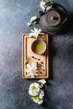 Tea with spring flowers royalty free stock photos