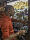Tea stall vendor drinks tea royalty free stock images
