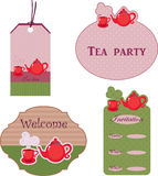 Tea stickers. Cute stickers for tea time Royalty Free Stock Photo