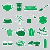 Tea stickers set. Green tea stickers set eps10 Stock Photos