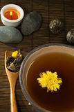 Tea still life. Tea with flower from above stock photography