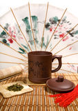 Tea still-life with Chinese can Stock Photography