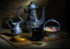 Tea. Still Life with tea, sweets, sugar and milk Royalty Free Stock Image