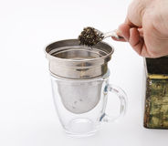 Tea in strainer Stock Photo
