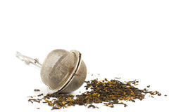 Tea strainer. With tea  isolated on white Royalty Free Stock Image