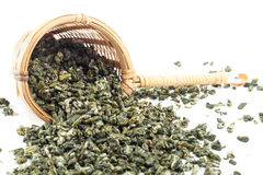 Tea strainer with green tea. On white background Stock Photo