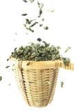 Tea strainer with green tea. On white Stock Photo