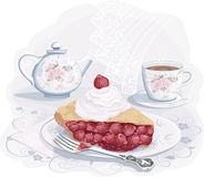 Tea with strawberry pie royalty free illustration