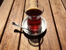 Tea on street cafe in nisantasi. Traditional Turkish tea Stock Photos