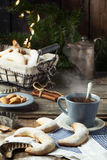 Tea and sugar cookies Royalty Free Stock Images
