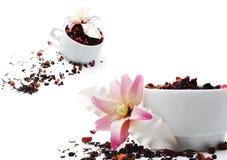 Tea with Sugar Flower Stock Photo