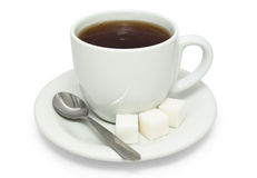 Tea with sugar in white cup Stock Photography