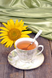 Tea, sunflower, satin, still life,close-up Stock Photography
