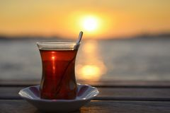 Tea and sunset Royalty Free Stock Image