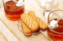 Tea with sweet cookies stock photo