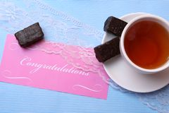 Tea and sweet cup Royalty Free Stock Image