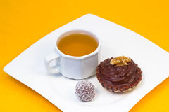 Tea and sweet dessert Royalty Free Stock Images