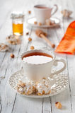 Tea and sweet nougat Royalty Free Stock Images