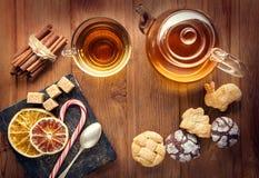 Tea sweet sugar cookies on wooden table Stock Photo