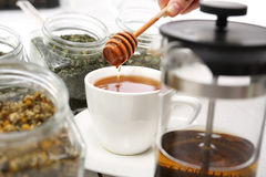 Tea sweetened with honey Stock Photo