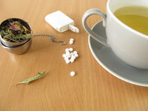 Tea with sweetener tablets Stock Photos