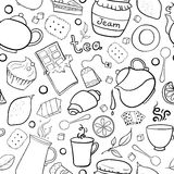 Tea and sweets black and white seamless pattern Stock Photos