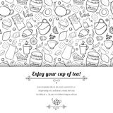Tea and sweets black and white vector background Royalty Free Stock Image