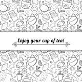 Tea and sweets black and white vector background Royalty Free Stock Photo