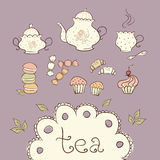 Tea and sweets. Doodle icons Stock Photography
